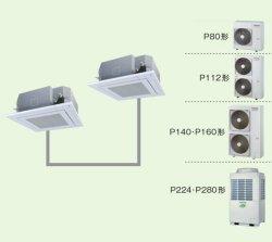 画像1: 東京・業務用エアコン 東芝 4方向吹出し 同時ツイン ワイヤレス リモコン AUEB16066X P160(6馬力) スマートエコR 三相200V